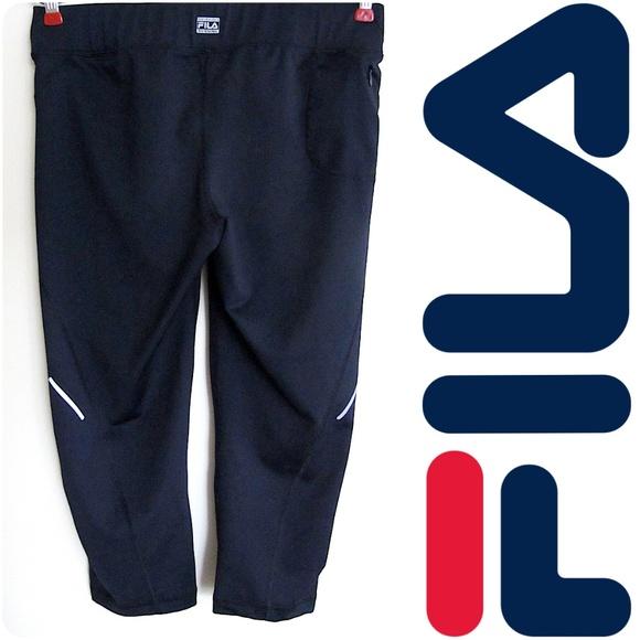 1b3920be91733 Fila Pants | Reflective Black Running Capri Legging Pant M | Poshmark